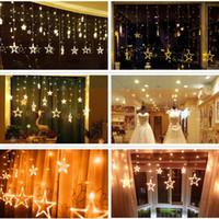 Wholesale 12 Ice Led Light - 6W 2M 138 LEDs Curtain Star String Fairy Christmas Light 12 Stars Window Curtain String Light Party Wedding Led Icicle Lights Festival Light