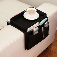 Wholesale Cover Table Top - Oxford Cloth Pouch Multilayer Arm Rest Chair Settee Couch Novelty 6 Pockets Sofa Remote Control Table Top Holder Organizer Tray