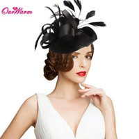 Wholesale Decorative For Hats - Decorative Feather Satin Fascinator Hair Clip Cocktail Hat for Wedding Party Decoration