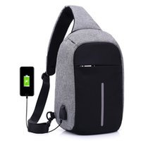 Wholesale small sling shoulder bags men - NEW Anti Theft Men Small Chest Pack USB Charge Polyester Travel Sport Sling Bag Business backpack