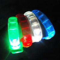 Wholesale Light Up Bracelets Free Shipping - LED Flash Bracelet Sound Controlled LED Light Up Bracelet Activated Glow Flash Bangle Halloween Decoration DHL Free Shipping
