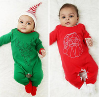 Wholesale Reindeer Stocking - Newborn Baby Girl Christmas Romper 2016 Autumn Infant Long Sleeve Reindeer Santa Claus Cosplay Jumpsuit Boys Spring Cotton Clothes in stock