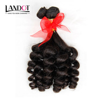 Wholesale funmi curl weave hair resale online - Brazilian Aunty Funmi Virgin Human Hair Bouncy Spiral Romance Curls Double Drawn Wefts Unprocessed Raw Brazilian Curly Hair Weave Bundles