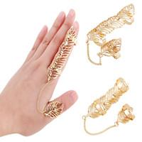 Wholesale Valentines Day Ring Sales - Hot Sale Hollow Metal Knuckle Rings Finger Joint Ring Set Adjustable Size Long Full Finger Ring Set Valentine Gift Free DHL D840L