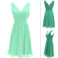 Wholesale Short Mint Dresses - Mint Green Simple Short Bridesmaid Dresses 2016 Chiffon Rushed V Neck Wedding Party Gowns Cheap Free Shipping