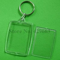Wholesale Arc Photo - Free shipping Rectangular Arc Transparent Blank Insert Photo Picture Frame Key Ring Split keychain