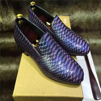 Wholesale Boa Shoes Men - Highest shoppe quality dress man shoes whole thailand import boa constrictor skin vamp genuine leather tread fasion men's best love choice