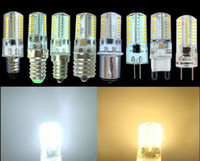 Wholesale G9 Led Pack - Pack of 10, Dimmable G4 G8 G9 GY6.35 E11 E12 E14 E17 BA15D LED 3W White Warm 110V 220V 64LEDs 3014 SMD LED Silicone crystal Light Lamp Bulb
