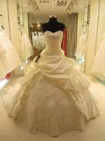 Wholesale Taffeta Strapless Chapel Train - Custom Made! NEW Ball Gown Curved Neckline Taffeta Organza Wedding Dresses Bridal Gown