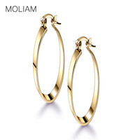 Wholesale antique jewelry earing - Wholesale- MOLIAM Charm Woman Earrings 2017 Fashion Snap Closure Antique Cubic Zirconia Hoop Earing High Quality Jewelry MLE408