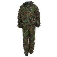 Wholesale Woodland Hunting Clothing - Wholesale-5 Colors 3D Bionic Leaf Camouflage Jungle Hunting Ghillie Suit Set Woodland Birdwatching Poncho Breathable Hunting Clothes