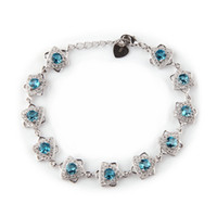 Wholesale First Class Sets - Copper Rhodium Plated Bracelets Fashion Blue Cubic Zirconia MN3273 Noble Generous Favourite Beautiful Explosion models First class products