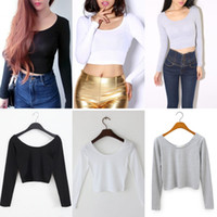 Wholesale Ladies Cotton Shirts Designs - 2016 New Fashion Short Designed Crop Top Sexy Long Sleeve Cropped Tops Ladies Summer T Shirt Women Tops Free Size WY6946