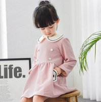 Wholesale Doll Lolita - Girls Dress Doll Collar soft and warm cute skirt for kids children clothes pink red grey dark blue autumn new arrival 1 lot=5pcs