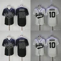 Hommes Bad Boy Film Baseball Jerseys 10 Biggie Throwback Authentique Cousu Haute Qualité Livraison Gratuite Baseball Jerseys