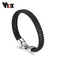 Wholesale Black Leather Gold Chain Bracelet - Wholesale-Punk Rock PU Leather Bangle Bracelet Men Jewelry Black Coffee White Color Bracelets & Bangles