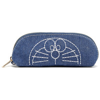 Cute Student Staples Pencil Pouch Candy Color Doraemon Denim Canvas Croper Zippered Pencil Bag Case Косметика Сумки для хранения вещей Организатор