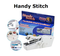 Wholesale Baskets Fabric Wholesale - 2016 Handy Stitch Handheld Electric Sewing Machine Mini Portable Cordless Travel Home With Logo Retail Packing