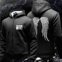 Wholesale Zombie Fleece - The Walking Dead Hoodie Zombie Daryl Dixon Wings Fleece Cotton Men Hoodies Zipper Jacket Men's Sweatshirts Sportswear