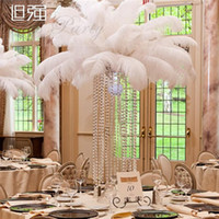 Wholesale Large Ostrich Plumes - Best selling Large Size White Ostrich Feather Plume Craft Supplies Wedding Party Table Centerpieces Decoration Free Shipping
