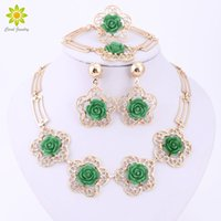 Wholesale Vintage Indian Bead Bracelet - 4Color Accessories Wedding African Beads Jewelry Sets Gold Plated Vintage Flower Earring Bracelet Necklace Ring Hollow Out