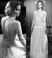 Classic Lace Bohemian Wedding Dresses Vintage Berta A-line Backless Manga comprida Jewel Bridal Gowns Custom Made 2017 Frete Grátis
