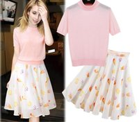 Wholesale Casual Mini Skirt Outfits - 2016 Spring Summer Women's 2pcs Set Short Sleeve Knitted Tops T Shirt + Skirt Lady's Clothing Suit Female Outfits Dress Sets