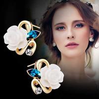 Wholesale Joker Designs Fashion - High Quality Women Earrings Crystal fashion classic joker design earrings spot wholesale flowers earrings Beautiful gift