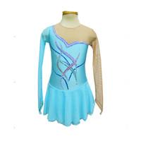 Wholesale Dress Figure Skate - 2016 Design Jewel Neck See Through Long Sleeve Figure Skating Dresses New Brand Fashion Female Ice Skating Spandex Dress Hot Selling