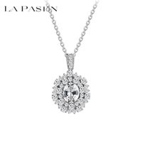 Wholesale Crystal Flower Necklace Clear - LA PASION 4Colors 2015 Summer New Arrival Luxury Clear Zircon Crystal Sexy Choker Pendant Necklace For Women Weddings Party