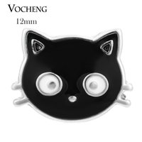 Clasps & Hooks paintings cats - VOCHENG NOOSA Black Lovely Cat Ginger Snap Petite mm Hand Painted Button Vn