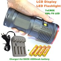 Wholesale Light King - 12000 lumens light King 7T6 LED flashlamp 7 x CREE XM-L T6 LED Flashlight Torch Lamp Light For Hunting Camping+4x18650 battery+charger