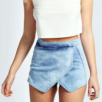 Wholesale Short Fitted Skirts - New Sexy Denim Culotte Shorts Women Summer Mini Wrap Skirt Slim-Fit Washed Denim Beach Shorts BSF0364