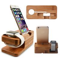 bambus-ladegerät großhandel-Holz Bambus Ladestation Station Ladegerät Ständer Halter für Apple Watch und für iPhone