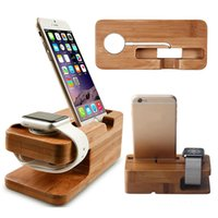 Wholesale Dock Charging Holder - Wood Bamboo Charging Dock Station Charger Stand Holder For Apple Watch And For iPhone