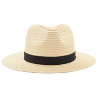 Wholesale vintage sun visor - Vintage Panama Hat Men Straw Fedora Male Sunhat Women Summer Beach Sun Visor Cap Chapeau Cool Jazz Trilby Cap Sombrero MX17161