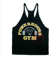 Wholesale Cheap Gym Vests - Power House Print cheap Gym Singlet Y Back Singlet tank top for men golds vest tops