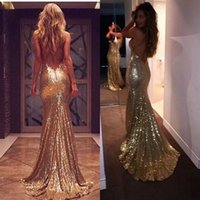Wholesale plus size hot model resale online - 2018 New Gold Sequins Evening Gowns Hot Sexy Backless Prom Dresses Plus Size Long Mermaid Bridesmaid Dresses Cheap Custom Made