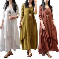 Wholesale Fashion Linen Blouses - Fashion Women's Peasant Ethnic Boho Cotton Linen Long Sleeve Maxi Dress Gypsy Blouse Shirt Dresses