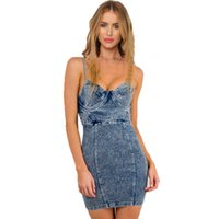 Mulher nova Sexy Spagehetti Strap <b>Body Hugging</b> Heavy Washed Acid Denim Dress Jeans Chambray Mini Bodycon Club Dress