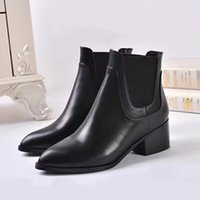 Wholesale L M B Boots - Luxury Brand L Womens Ankle Boot Cow Leather Boots 55MM Square Heel Booties Ladies Shoes With V Glitter Pointed Toes SZ35-39