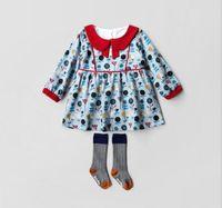 Wholesale Euro Dress - Ins Euro Fashion Girl Lolita Dress pet pan collar long sleeve flower print dress Autumn warm girl dress elegant simple style 100% Cotton