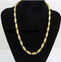 Wholesale Heavy Solid 24k Gold Necklaces - best buy fine Yellow Gold jewelry Heavy Free shipping mens 24k yellow solid gold GF chain necklace wide 7mm length 50cm weight 36.5g