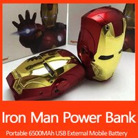 Wholesale S4 Iron Man - 6500mAh Iron man electroplate Power Bank Portable Charger External Battery For iPhone 5S 6 6S 6plus For Samsung S5 S4 Note 4 3 UPS Free ship