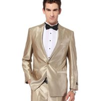 Wholesale Tie Color For Grey Suit - gold tuxedo jacket Wedding Suit for Men Groom Tuxedos Prom Suits Best Men Suit Jacket+Pants+Tie two-piece handsome
