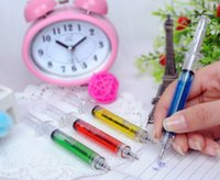 Wholesale Novelty Syringe Pens Wholesale - Syringe ballpoint pen black ink Novelty Plastic Novelty pens mix colours toy pens Syringe pen Stationery