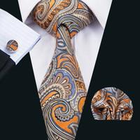 gravatas alaranjadas de paisley para homens venda por atacado-Clássico Gravata Dos Homens De Seda Paisley Gravata Conjuntos Laranja Dos Homens Gravatas Gravata Lenço Abotoaduras Jacquard Tecido Reunião Casamento de Negócios Ocasional Do Partido N-1484