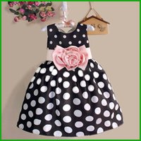 Wholesale Europe Style Dress - america europe style girls sundress toddler children dresses dot print sleeveless mid-calf style pink floral flower black or white vestidos