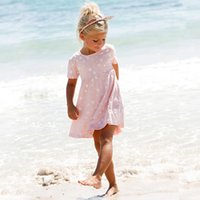 Wholesale Cute Old Fashioned Girl Dresses - New High Fashion Pink cute heart full printed short sleeve summer dress for girls casual dress for kids 1-6 years old 60 pcs lot