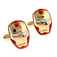 Wholesale Crazy Iron - Free shipping Iron Man Cufflink 1 Pairs Crazy Promotion 960097